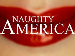 the big natural tits in the red dress - naughty america