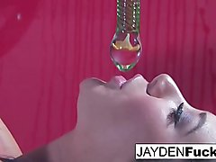 Jayden Gets Naughty On An Oily Red Wall