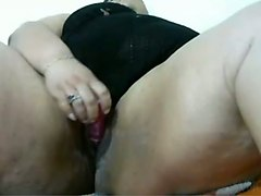 extremely obese webcam brunette whore was lazily masturbating herself