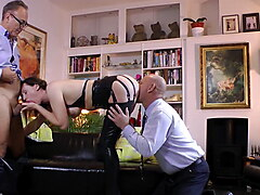 Classy English lady spitroasted by hubby and hung mature boy