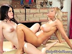 busty masseuse scissoring sapphic lesbian