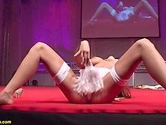 busty milf masturbating on stage