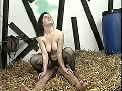 busty pale skin european chick fucked by a freak in the barn