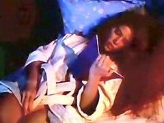 horny white brunette chick alone in the bedroom masturbating