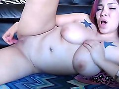 I messy Asian whore with big yummy tits rubbin wet vagina
