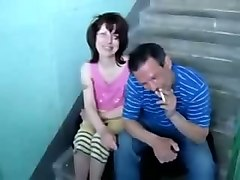 dirty russian homeless bitch was mouthfucked on the stairs
