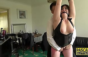 Tied up chubby submissive