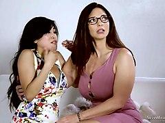 hypnotizing big jugs of mindi mink makes asian lesbian horny