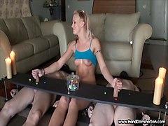 muscular teen controls 2 bondage cocks