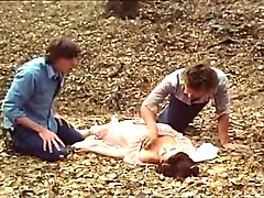 desiree cousteau joey silvera in classic porn scene with threesome in the forest