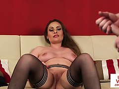 busty uk milf helps naked sub to shoot cum