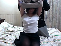 this asian honey lets her man undress her to reveal her nice full tits and a massive black bush