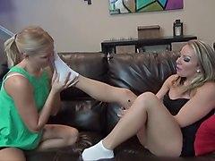 Girl loves to smell socks