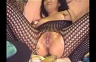 shomi fishnet bodystocking nipple clamps oiled masturbate dildo anal squirt