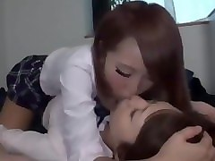 japanese lesbians kissing hot on the bed