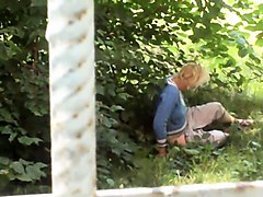 Naughty mature lady indulges in hot masturbation in the park