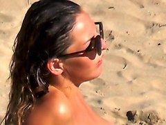 junior model topless beach shower sunbathing sunglasses