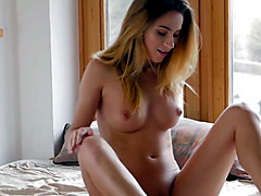 Amazing blonde babe Rena solo fingers and rubs pussy