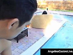 plump princess angelina castro bangs a pool boy's big ddick!