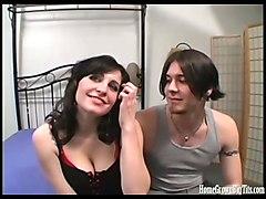 busty girlfriend films her first porno with her boyfriend