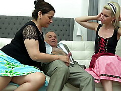 Granny shares grandpas cock with naughty blonde babe