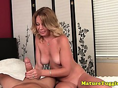 mature cougar jerking pov cock