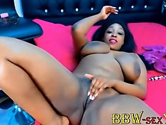 black sexy_bigbootyx with huge boobs plays with pink pussy