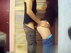 Girlfriend fucked against the wall