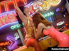 FemDom RubberDoll Dildo Bangs Kendra James In Crazy Lighting