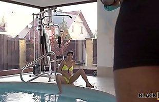 BLACK4K. Swimming coach with huge cock fucks lovely teen lassie
